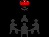 pictogramme avec 4 personnes autour d'une table et le capteur de présence